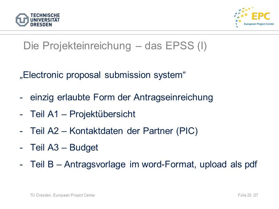 Die Projekteinreichung – das EPSS (I)