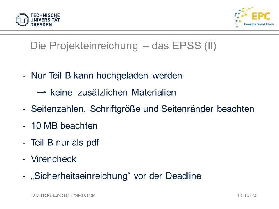 Die Projekteinreichung – das EPSS (II)