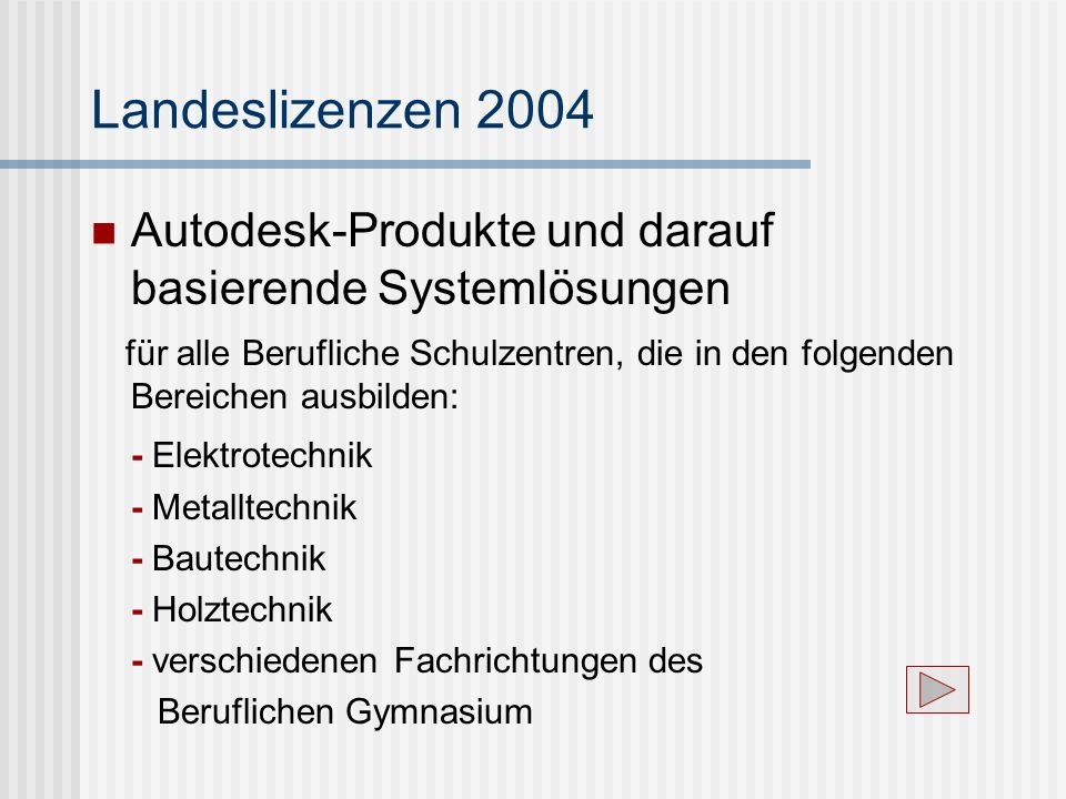 Landeslizenzen 2004Autodesk-Produkte und darauf basierende Systemlösungen.