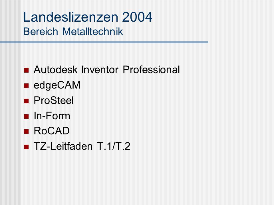 Landeslizenzen 2004 Bereich Metalltechnik
