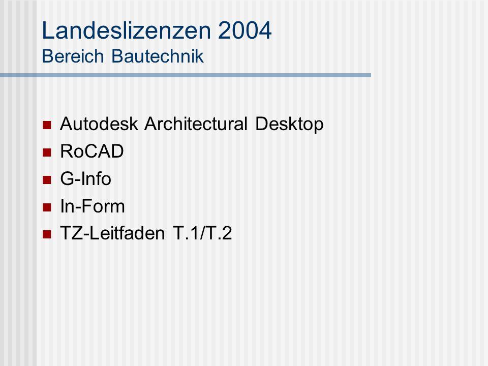 Landeslizenzen 2004 Bereich Bautechnik