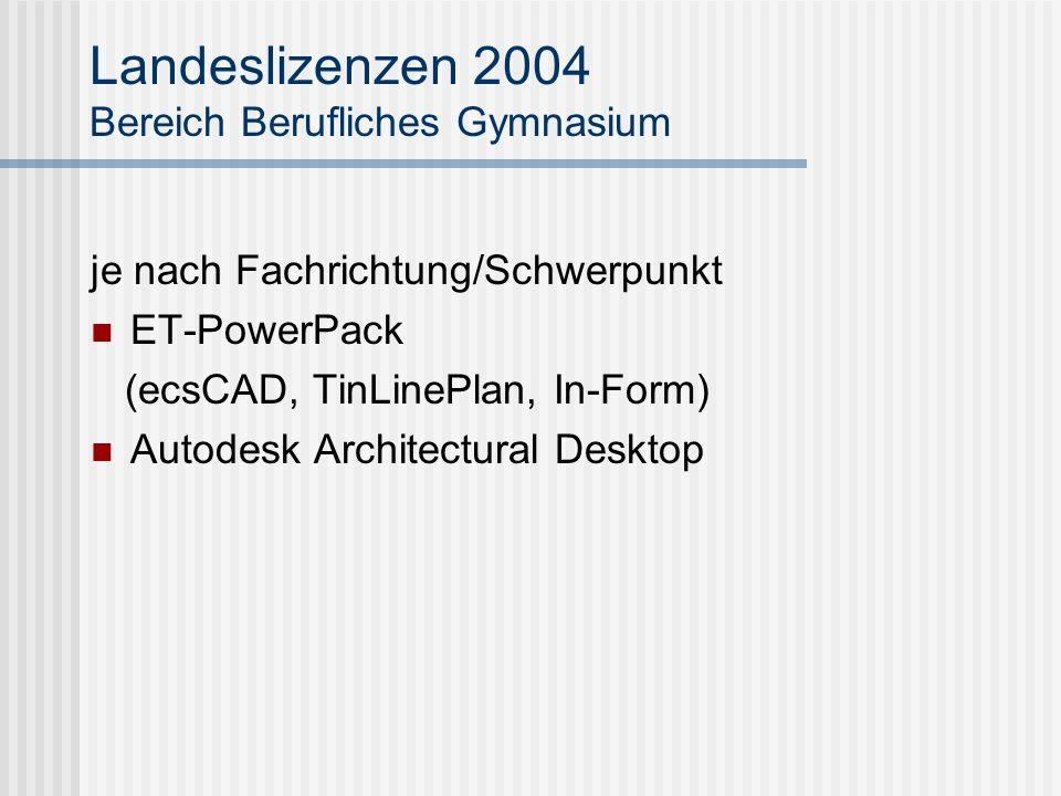 Landeslizenzen 2004 Bereich Berufliches Gymnasium