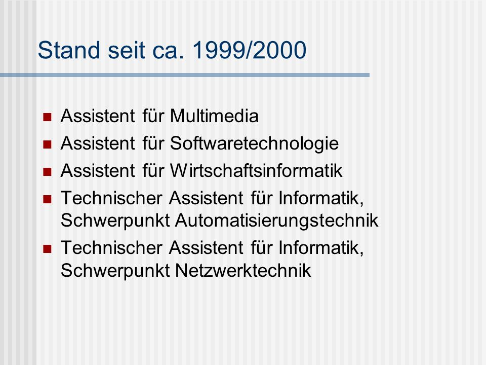 Stand seit ca. 1999/2000 Assistent für Multimedia