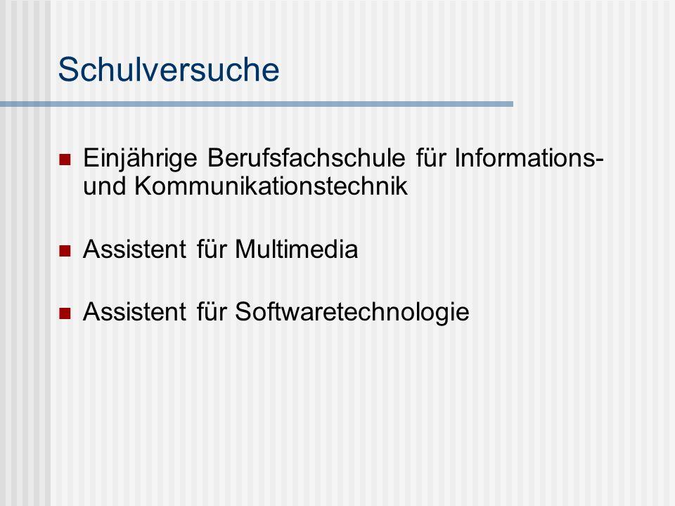 Schulversuche Einjährige Berufsfachschule für Informations- und Kommunikationstechnik. Assistent für Multimedia.