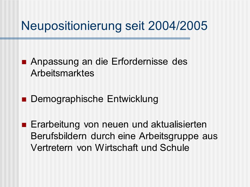 Neupositionierung seit 2004/2005