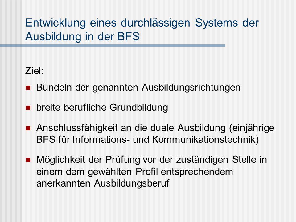 Entwicklung eines durchlässigen Systems der Ausbildung in der BFS