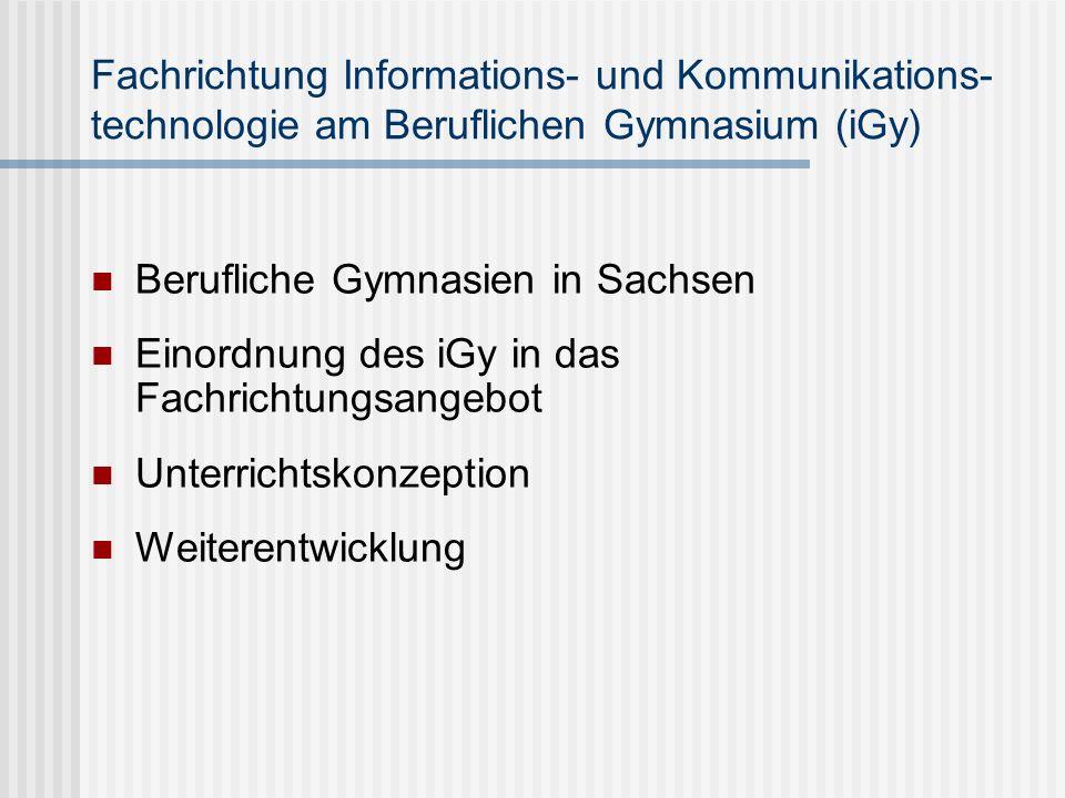 Fachrichtung Informations- und Kommunikations- technologie am Beruflichen Gymnasium (iGy)