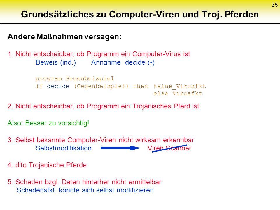 Grundsätzliches zu Computer-Viren und Troj. Pferden