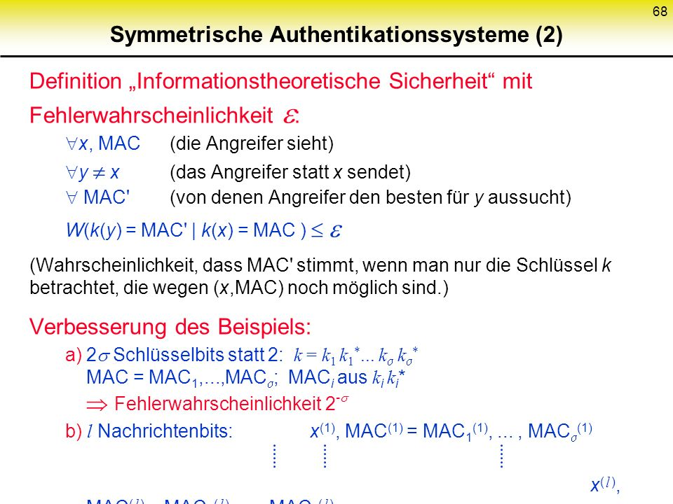 Symmetrische Authentikationssysteme (2)