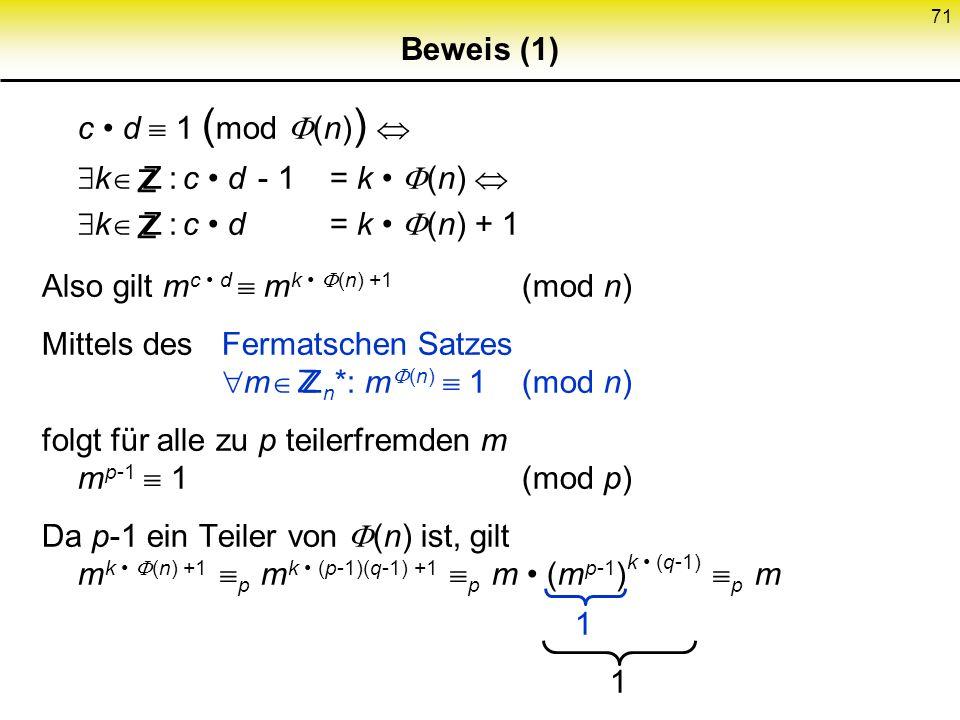 Beweis (1) c • d  1 (mod (n))  k Z : c • d - 1 = k • (n)  k Z : c • d = k • (n) + 1. Also gilt mc • d  mk • (n) +1 (mod n)