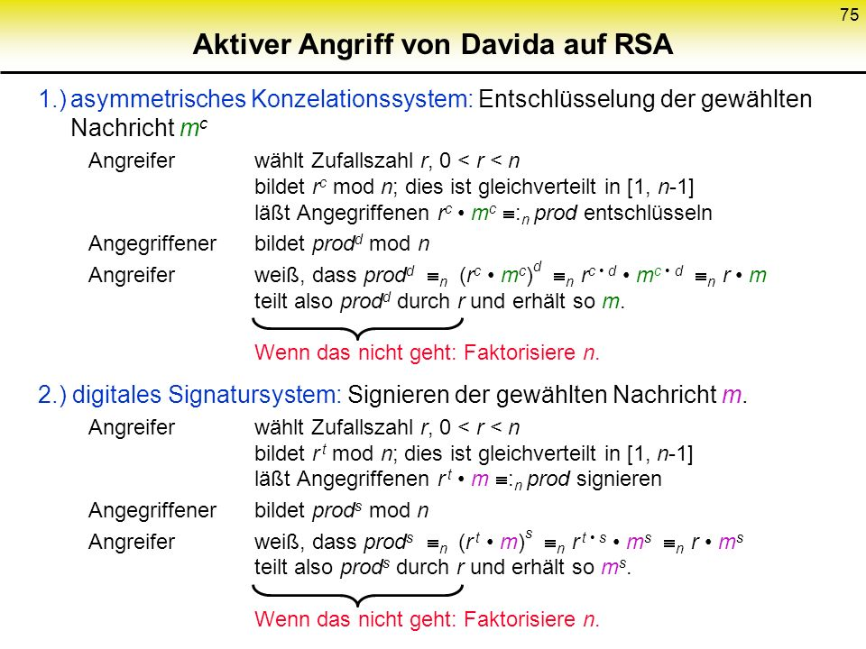 Aktiver Angriff von Davida auf RSA