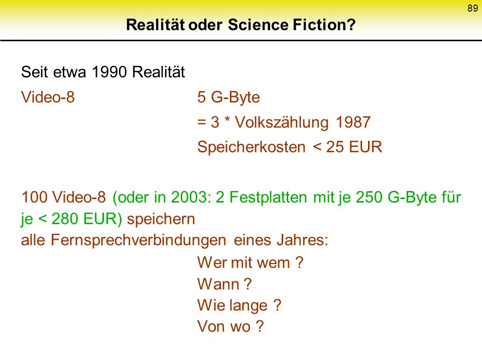 Realität oder Science Fiction