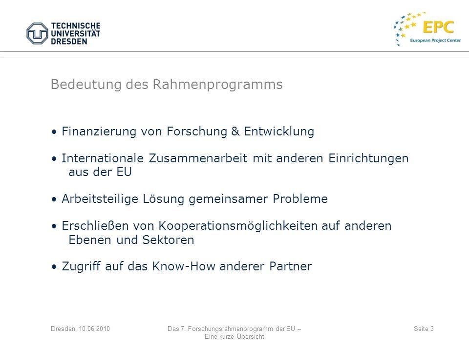 Bedeutung des Rahmenprogramms