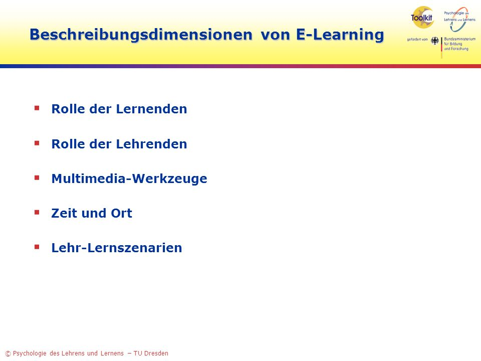 Beschreibungsdimensionen von E-Learning