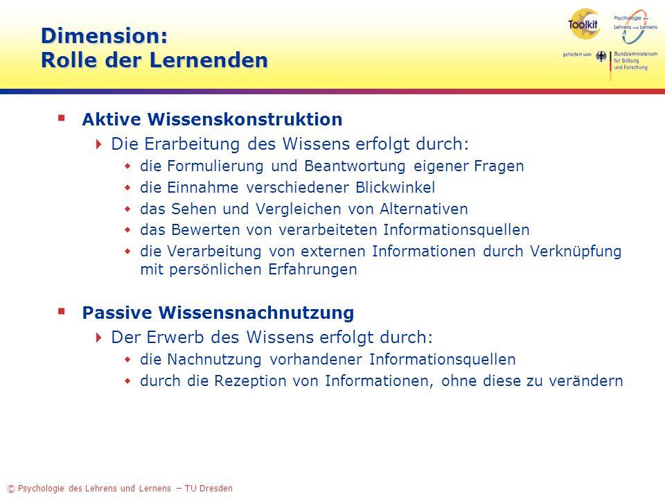 Dimension: Rolle der Lernenden