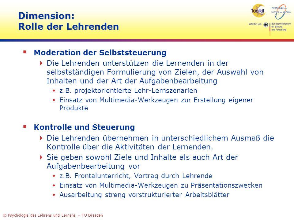 Dimension: Rolle der Lehrenden