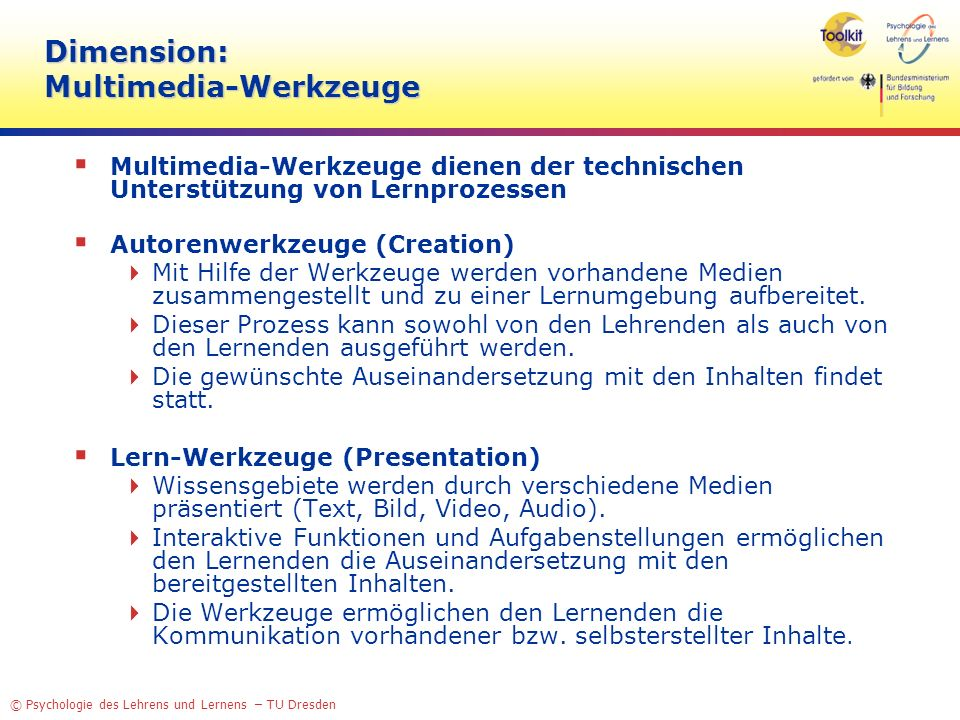 Dimension: Multimedia-Werkzeuge