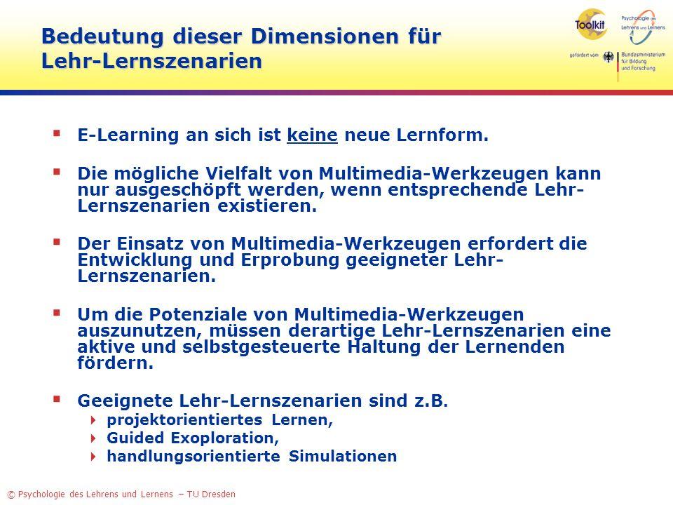 Bedeutung dieser Dimensionen für Lehr-Lernszenarien