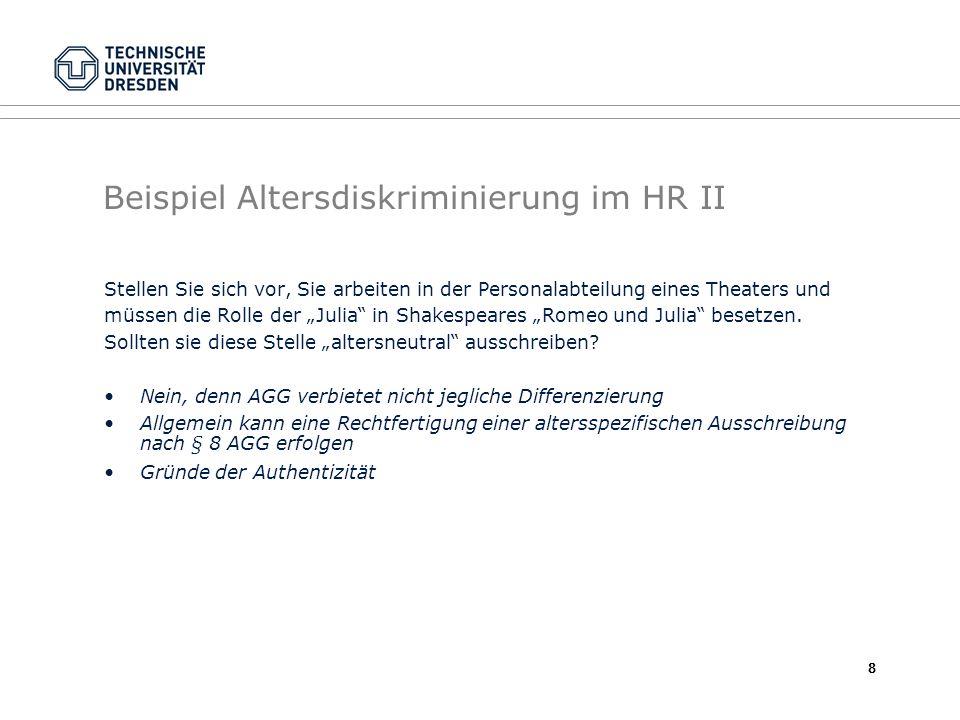 Beispiel Altersdiskriminierung im HR II
