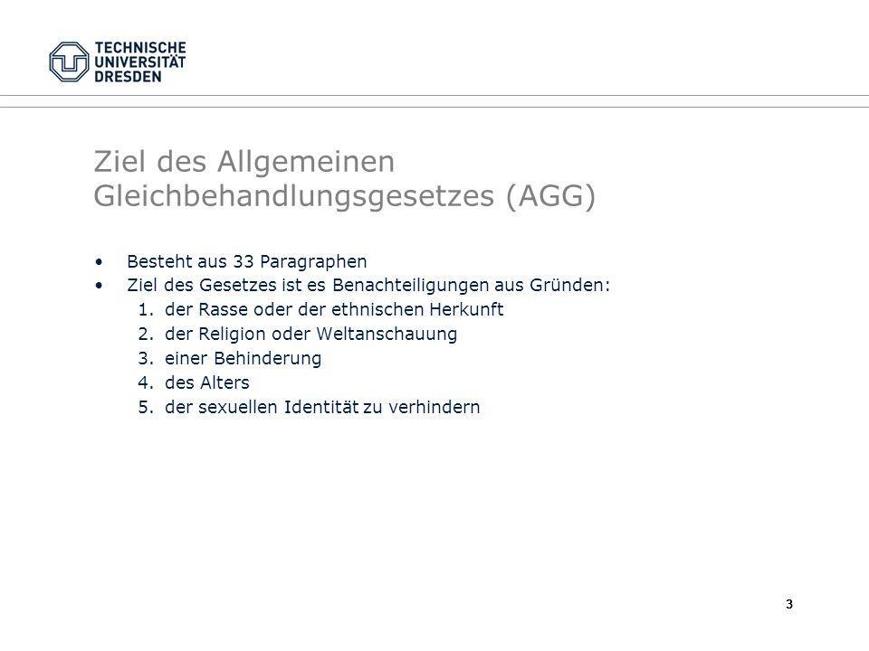 Ziel des Allgemeinen Gleichbehandlungsgesetzes (AGG)