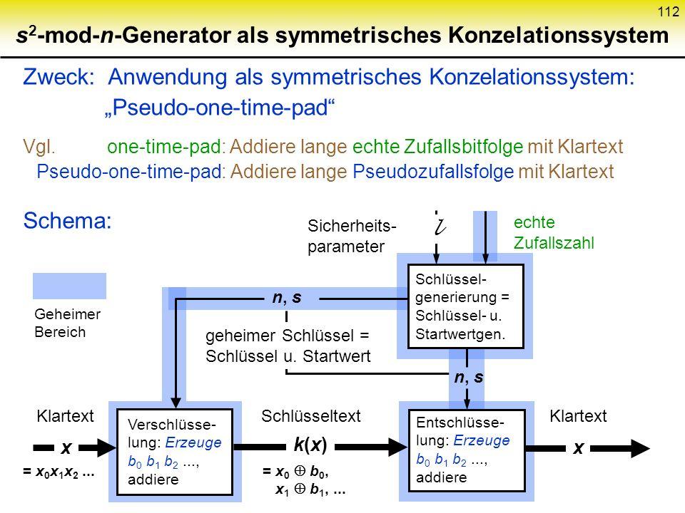 s2-mod-n-Generator als symmetrisches Konzelationssystem