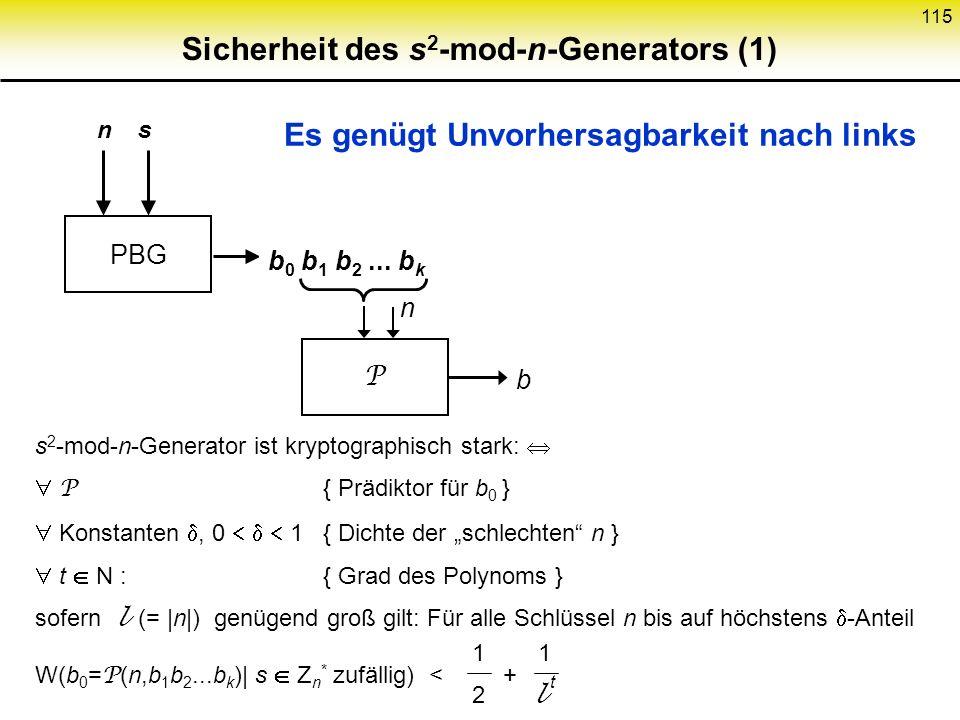 Sicherheit des s2-mod-n-Generators (1)