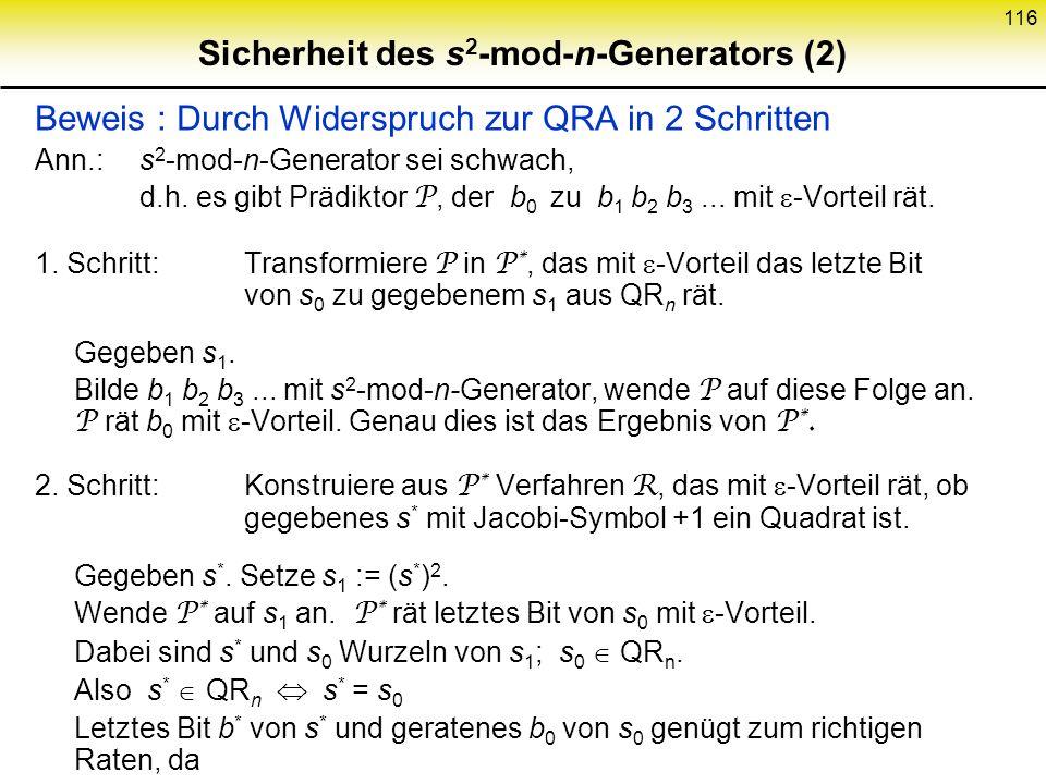 Sicherheit des s2-mod-n-Generators (2)