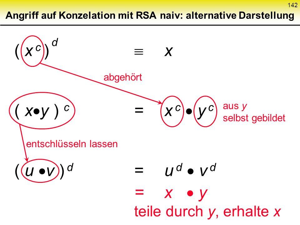 Angriff auf Konzelation mit RSA naiv: alternative Darstellung