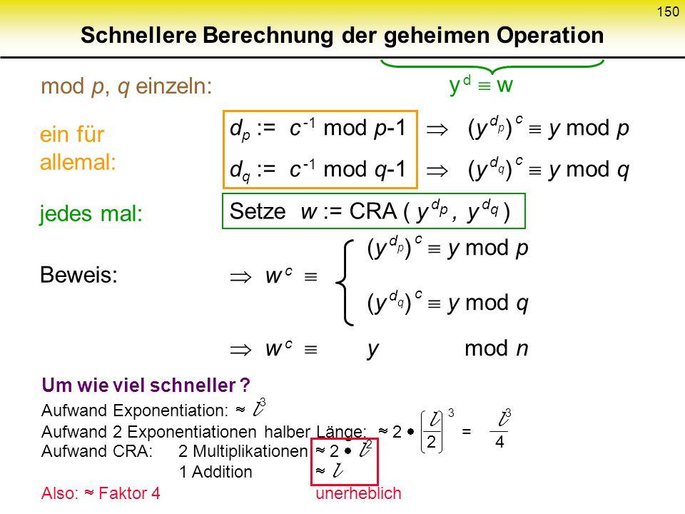 Schnellere Berechnung der geheimen Operation