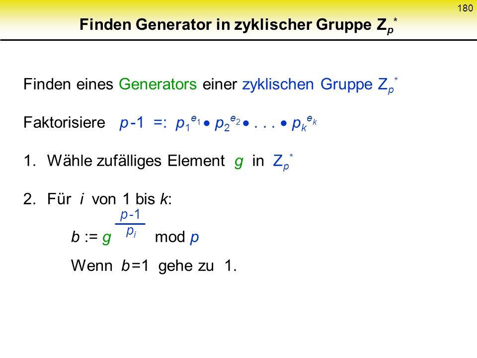 Finden Generator in zyklischer Gruppe Zp*