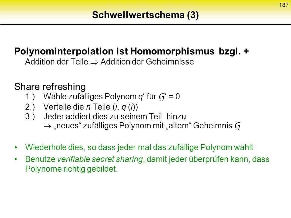 Schwellwertschema (3) Polynominterpolation ist Homomorphismus bzgl. + Addition der Teile  Addition der Geheimnisse.