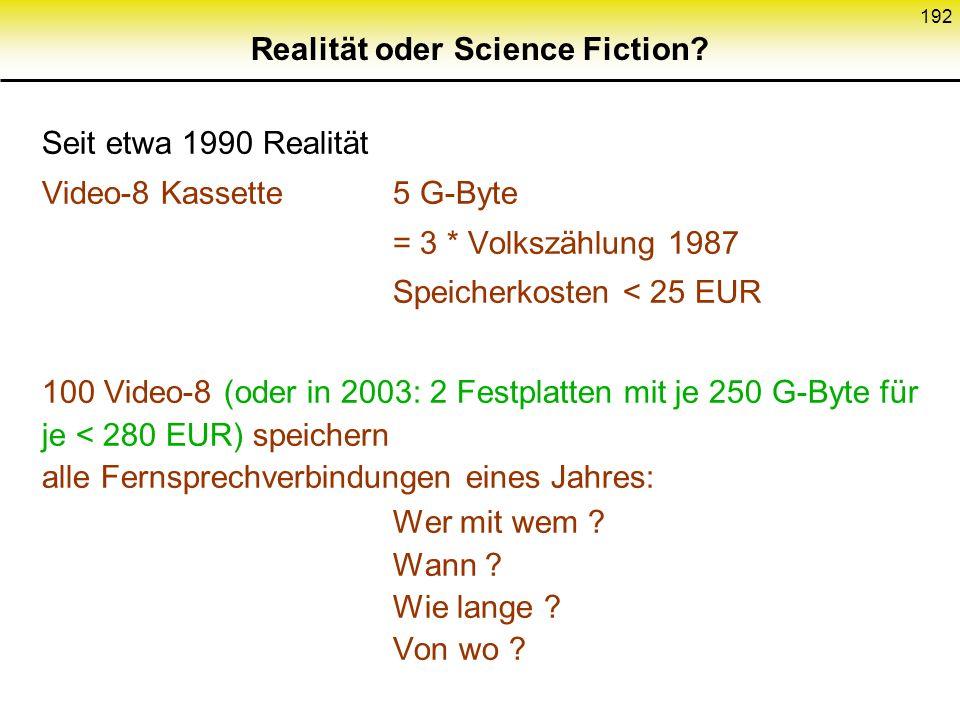 Realität oder Science Fiction