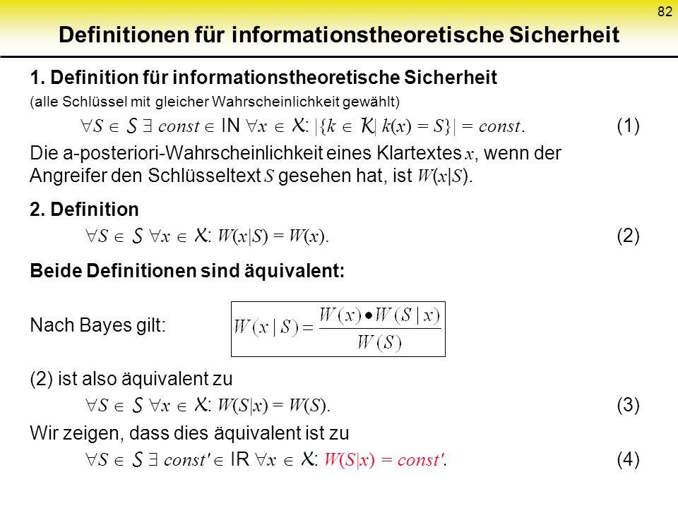 Definitionen für informationstheoretische Sicherheit
