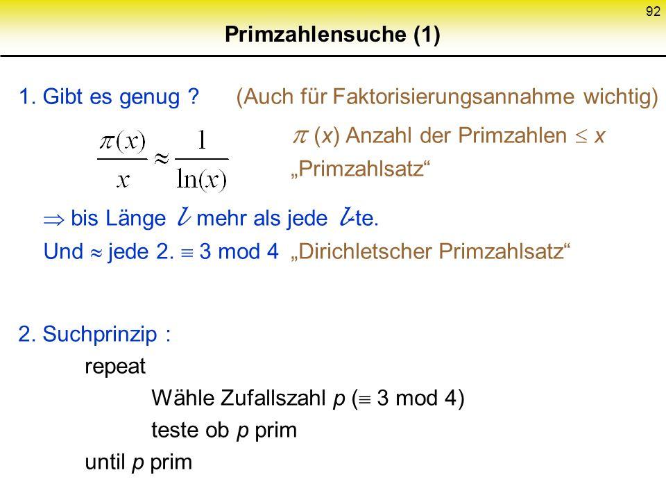 Primzahlensuche (1) 1. Gibt es genug (Auch für Faktorisierungsannahme wichtig)  (x) Anzahl der Primzahlen  x.
