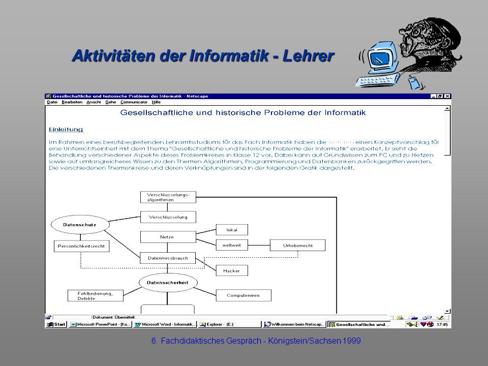 Aktivitäten der Informatik - Lehrer