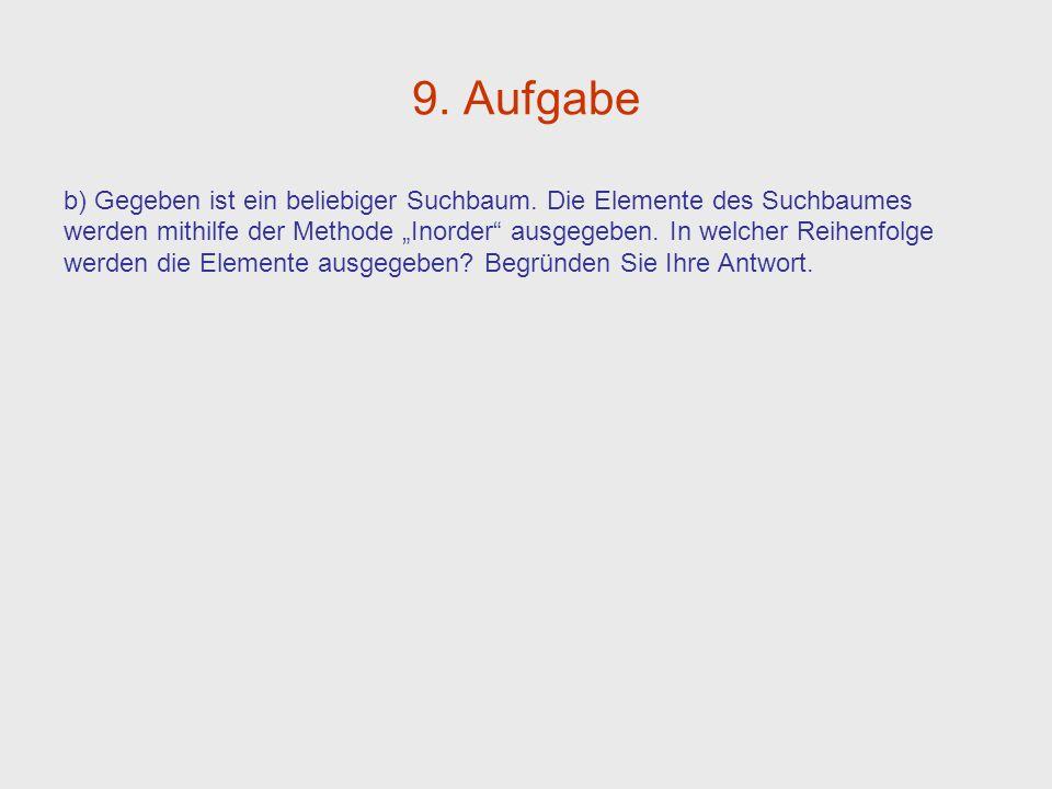 9. Aufgabe b) Gegeben ist ein beliebiger Suchbaum. Die Elemente des Suchbaumes.