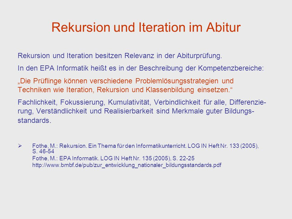 Rekursion und Iteration im Abitur