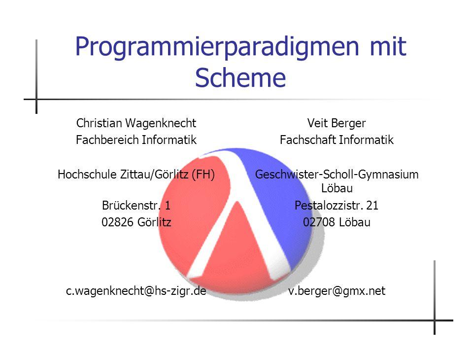 Programmierparadigmen mit Scheme
