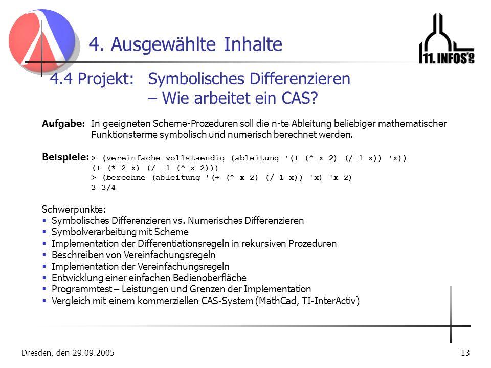 4. Ausgewählte Inhalte 4.4 Projekt: Symbolisches Differenzieren