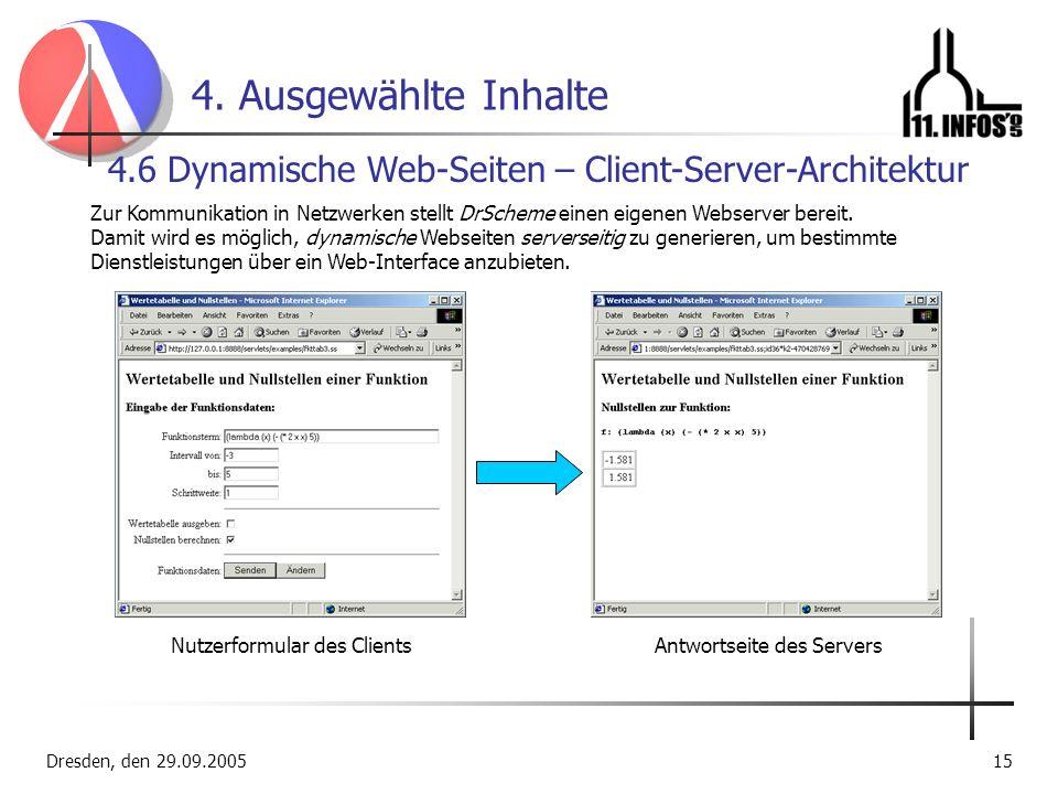 4. Ausgewählte Inhalte 4.6 Dynamische Web-Seiten – Client-Server-Architektur.