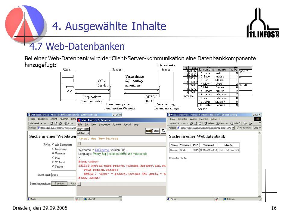 4. Ausgewählte Inhalte 4.7 Web-Datenbanken