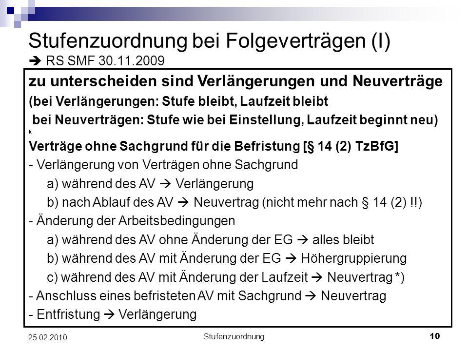 Stufenzuordnung bei Folgeverträgen (I)  RS SMF 30.11.2009