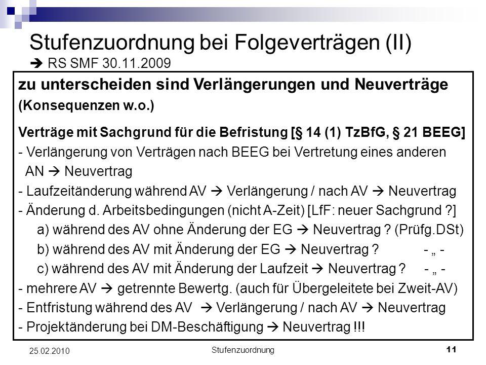 Stufenzuordnung bei Folgeverträgen (II)  RS SMF 30.11.2009