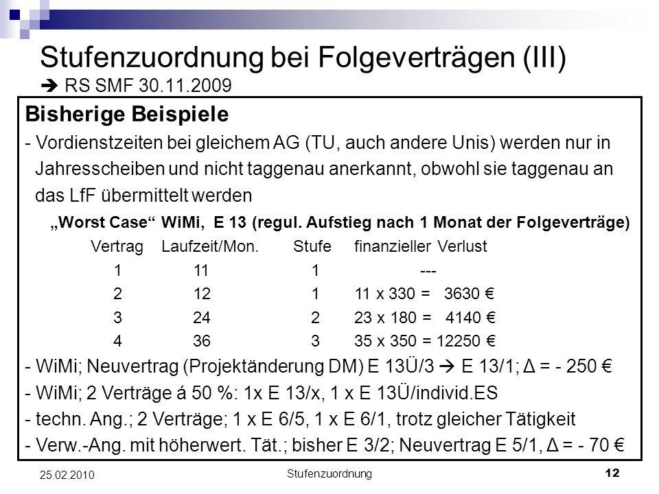 Stufenzuordnung bei Folgeverträgen (III)  RS SMF 30.11.2009