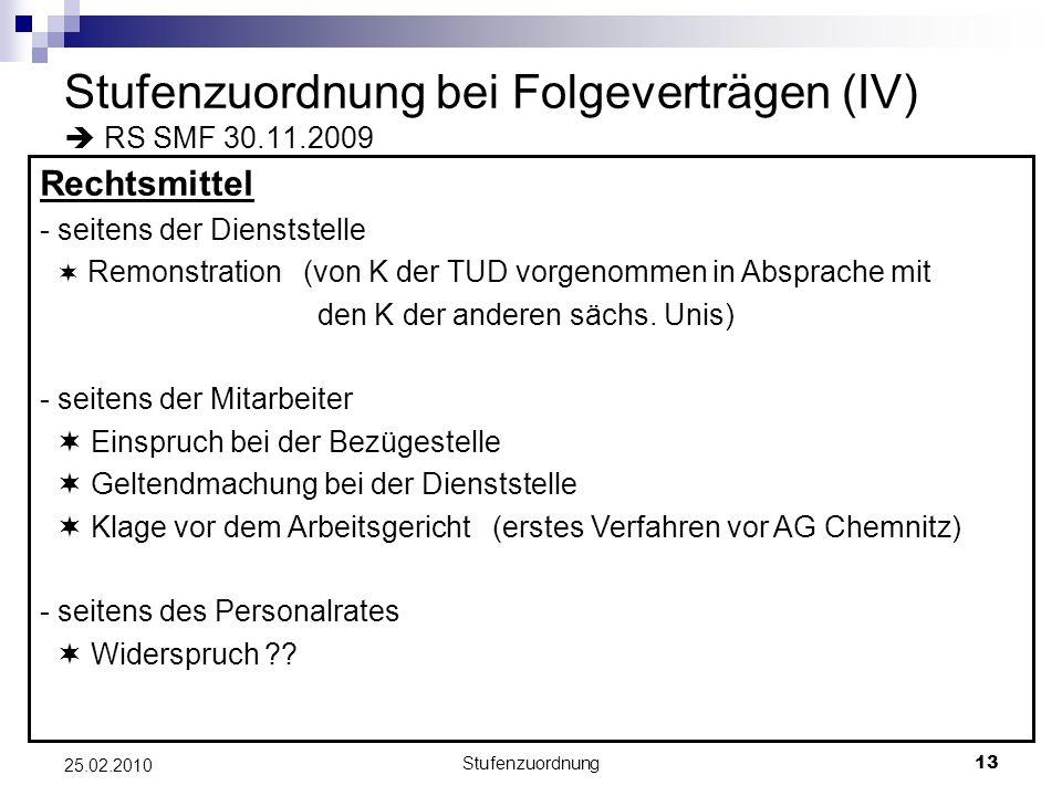 Stufenzuordnung bei Folgeverträgen (IV)  RS SMF 30.11.2009