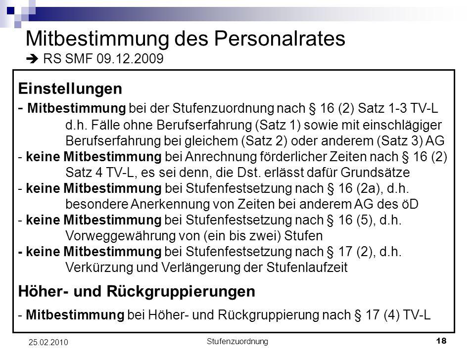 Mitbestimmung des Personalrates  RS SMF 09.12.2009