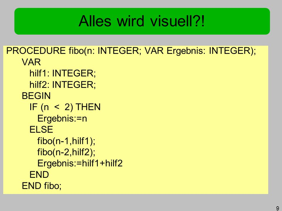 Alles wird visuell ! PROCEDURE fibo(n: INTEGER; VAR Ergebnis: INTEGER); VAR. hilf1: INTEGER; hilf2: INTEGER;