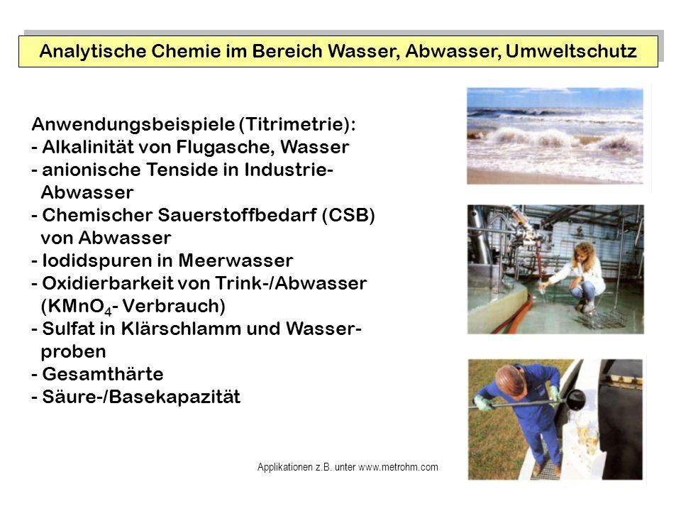 Analytische Chemie im Bereich Wasser, Abwasser, Umweltschutz