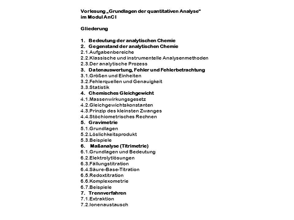 """Vorlesung """"Grundlagen der quantitativen Analyse"""
