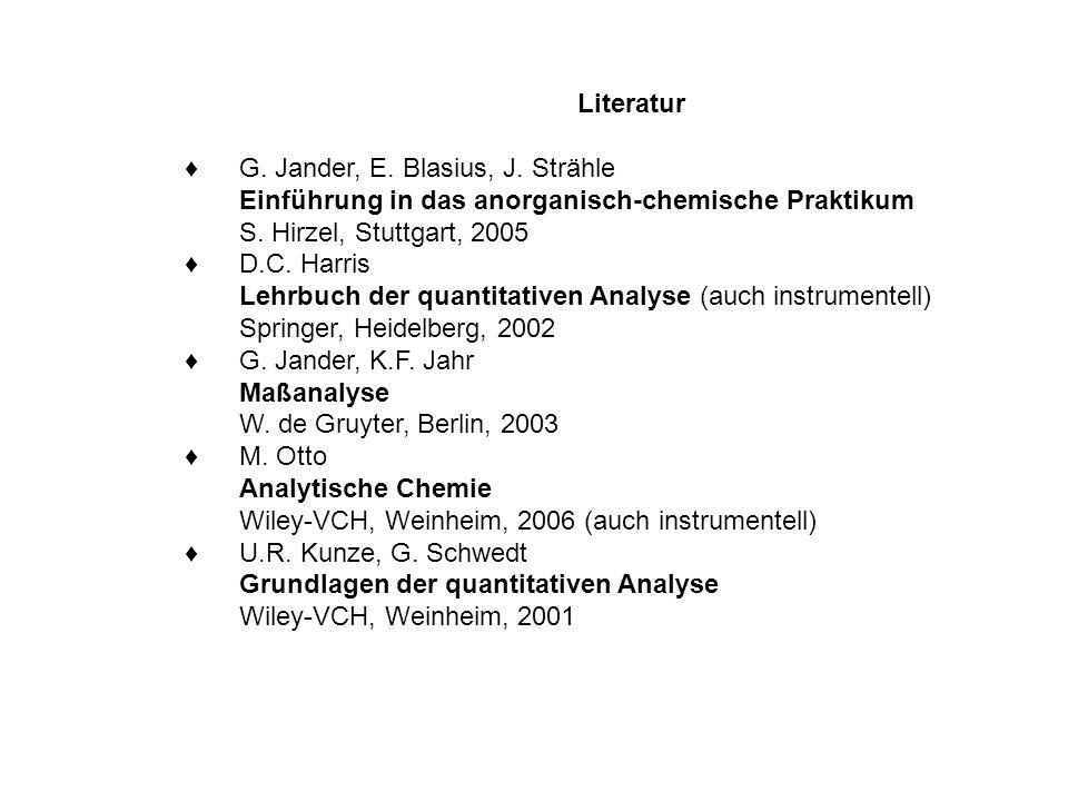 Literatur ♦ G. Jander, E. Blasius, J. Strähle. Einführung in das anorganisch-chemische Praktikum. S. Hirzel, Stuttgart, 2005.